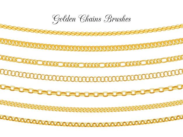 Escovas de correntes douradas isoladas