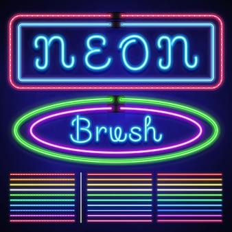 Escovas de padrão personalizado de traçado elétrico de néon vintage, cassino e borda de luz de natal