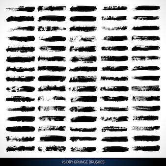 Escovas de tinta grunge para design e pintura vector set