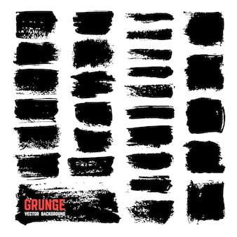 Escovas de tinta texturizada artística. cursos do pincel preto do vetor isolados no fundo branco. ilustração de textura abstrata traço preto de dor