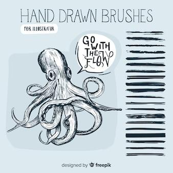 Escovas desenhadas à mão