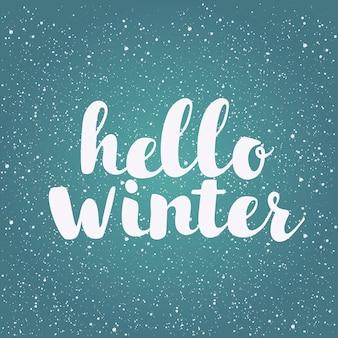 Escove letras no fundo do inverno com flocos de neve
