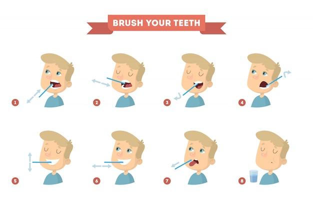 Escove os dentes com o menino. instrução saudável.