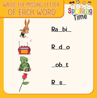 Escreva a letra que falta em cada planilha de palavras para crianças
