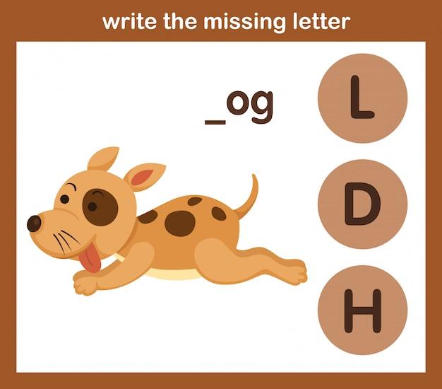 Escreva a letra que falta, ilustração, vetor