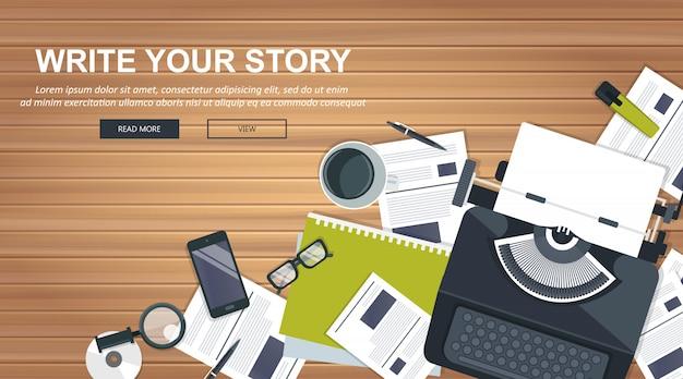 Escreva sua história banner de negócios para jornalismo e blogs