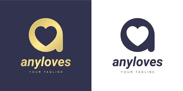 Escreva um logotipo com um conceito minimalista de amor e coração