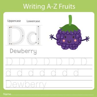 Escrevendo az frutas uma é amora