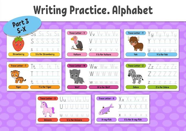 Escrevendo cartas definir página de rastreamento folha de prática