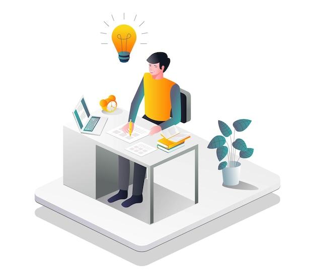 Escrevendo ideias na mesa em ilustração isométrica