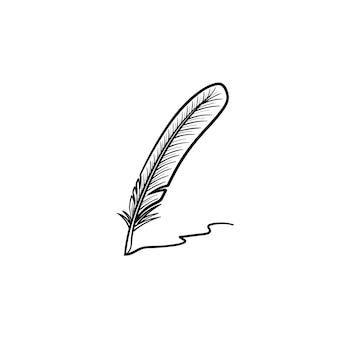 Escrevendo o ícone de esboço desenhado mão pena. ilustração de desenho vetorial de escrever pena para impressão, web, mobile e infográficos isolados no fundo branco. Vetor Premium