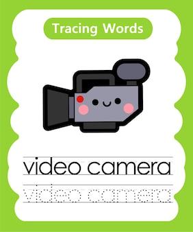 Escrevendo palavras para prática de rastreamento de alfabeto v - videogame