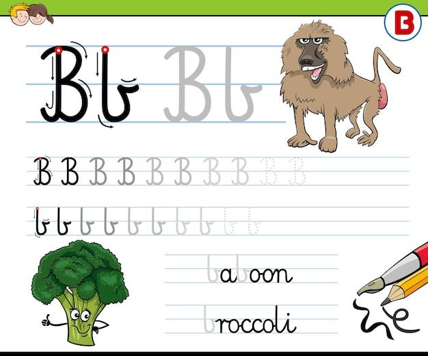 Escrevendo planilha da letra b para crianças