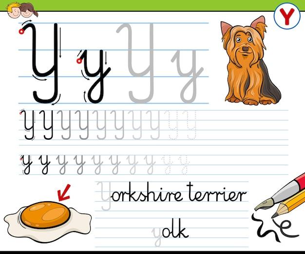 Escrevendo planilha da letra y para crianças