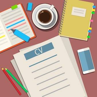 Escrevendo um conceito de currículo de cv de negócios. design plano