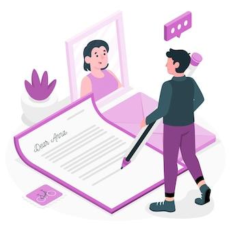 Escrevendo uma ilustração do conceito de carta