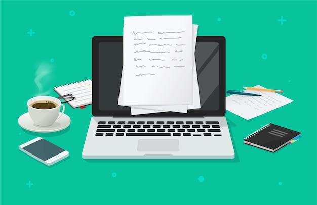 Escrever conteúdo de texto criando vetor na mesa de trabalho de educação on-line por meio do laptop do computador, criando documento de ensaio, ilustração do local de trabalho de jornalismo, área de trabalho do autor ou editor com imagem de óculos