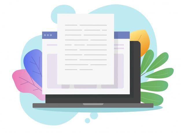 Escrever conteúdo de texto online no computador portátil