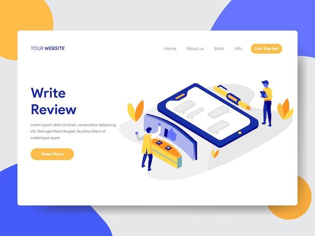 Escrever ilustração de revisão para a página da web