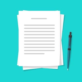 Escrever o conteúdo da carta de texto em folhas de documentos de papel com a caneta