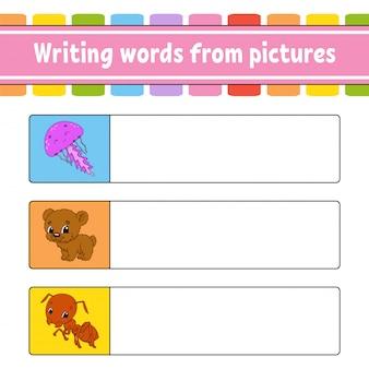 Escrever palavras a partir de imagens. planilha de desenvolvimento de educação. jogo de aprendizagem para crianças. página de atividade. quebra-cabeça para crianças.