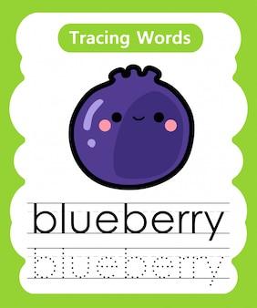 Escrever palavras práticas: alfabeto rastreamento b - mirtilo