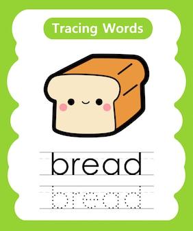 Escrever palavras práticas: alfabeto rastreamento b - pão