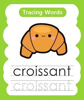 Escrever palavras práticas: alfabeto rastreamento c - croissant