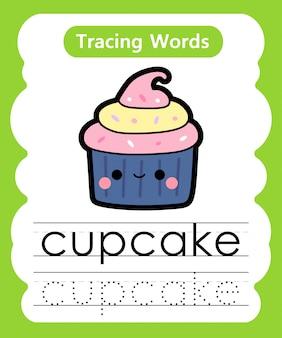 Escrever palavras práticas: alfabeto rastreamento c - cupcake