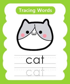 Escrever palavras práticas: alfabeto rastreamento c - gato