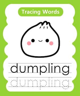 Escrever palavras práticas: alfabeto rastreamento d - bolinho de massa