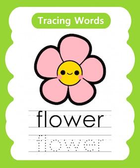 Escrever palavras práticas: alfabeto rastreamento f - flor