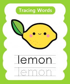 Escrever palavras práticas: alfabeto rastreamento l - limão