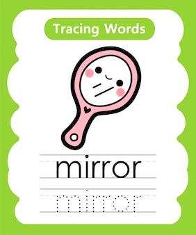 Escrever palavras práticas: alfabeto rastreamento m - espelho