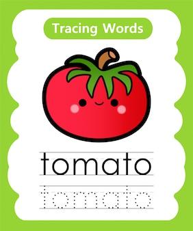 Escrever palavras práticas: alfabeto rastreamento t - tomate