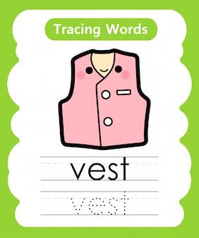 Escrever palavras práticas: alfabeto rastreamento v - colete