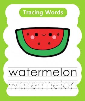 Escrever palavras práticas: alfabeto rastreamento w - melancia