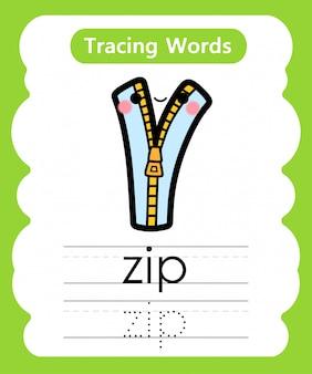 Escrever palavras práticas: alfabeto rastreamento z - zip