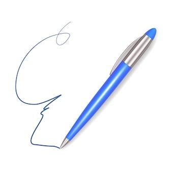 Escrever sinal de caneta azul de plástico realista.