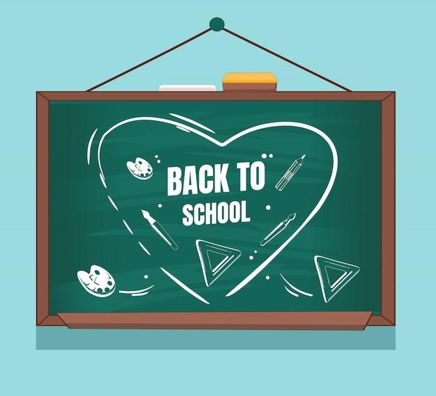 Escrever 'volta às aulas' no design plano de quadro-negro