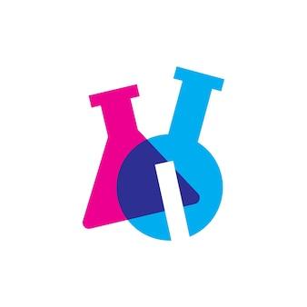 Escrevo ilustração do ícone do vetor do logotipo do copo de laboratório de laboratório