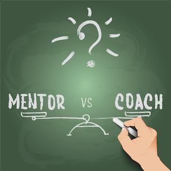 Escrita à mão 3d mentor vs treinador no quadro-negro