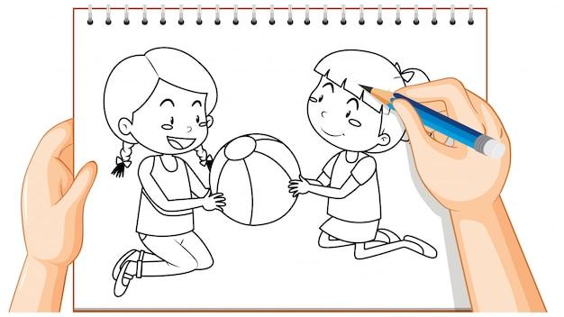 Escrita à mão de duas meninas brincando com o contorno da bola