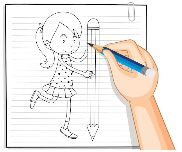 Escrita à mão de garota segurando o contorno do lápis