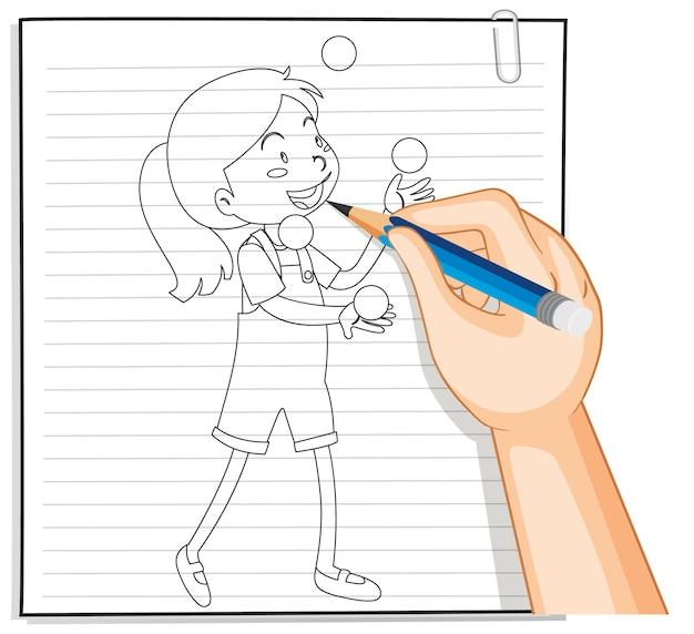 Escrita à mão de menina brincando com contorno de muitas bolas