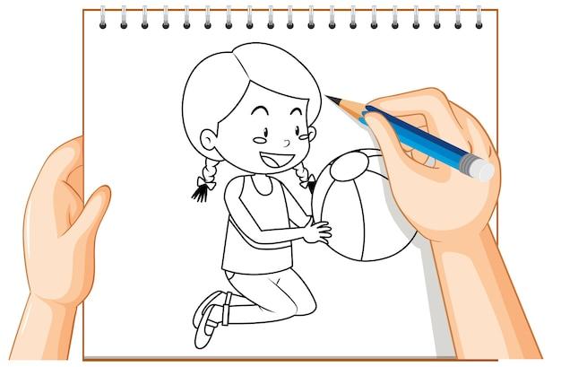 Escrita à mão de menina segurando o contorno da bola