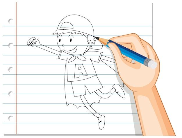 Escrita à mão de menino agindo como esboço de herói