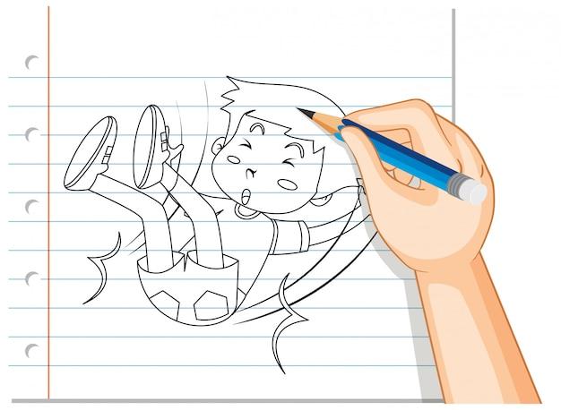 Escrita à mão de menino caindo contorno de acidente