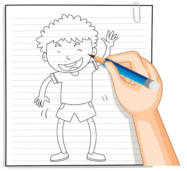 Escrita à mão de menino com pose de saudação