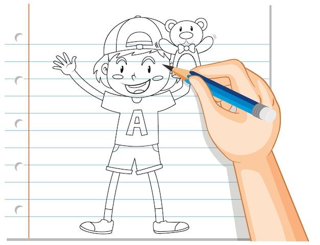Escrita à mão de menino segurando o contorno do ursinho de pelúcia